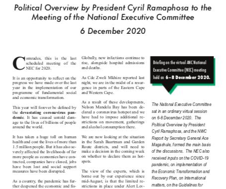 ANC NEC meeting 6 Dec 2020
