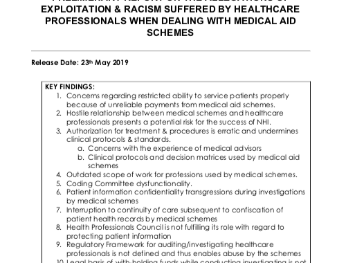 PRELIMINARY REPORT ON THE ALLEGATIONS OF EXPLOITATION & RACISM SUFFERED BY HEALTHCARE PROFESSIONALS WHEN DEALING WITH MEDICAL AID SCHEMES